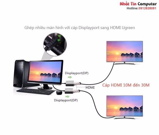 Cáp chuyển đổi Displayport sang HDMI 10M-15M-20M-30M Ugreen chính hãng