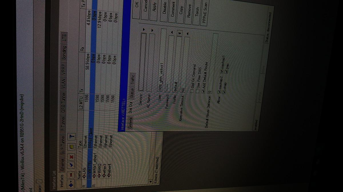 Giúp đỡ việc quay PPPOE Viettel trong modem Mikrotik - vozForums