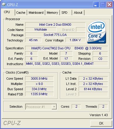HCM CPU CORE 2 E8400 3 00GHz SK775 - vozForums