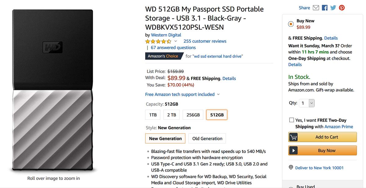 SSD gắn ngoài WD 512 sale 50% lăn tăn lăn tăn | vozForums